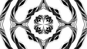 Animation der Schleife 4k mit Schwarzweiss-Bändern verdrehen und bilden komplexe Strukturen als kaleidoskopischer Effekt 68 stock abbildung