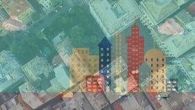 Animation des bâtiments avec la voiture et les vrais bâtiments banque de vidéos