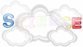 Animation des einfachen bunten grundlegenden Wissenschaftsthematitels wie Physik, Chemie, Astronomie und Biologie mit Zeichen und lizenzfreie abbildung