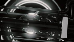 Animation des futuristischen und High-Techen Mechanismus mit Licht- und Rotationsdetails mit Rohren, Hintergrund der abstrakten M stock video