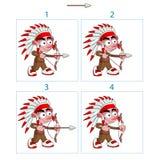 Animation des gebürtigen Jungen in 4 Rahmen mit Pfeil und Bogen lizenzfreie abbildung