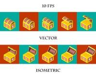 Animation des Kastens in einem isometry gefüllt mit Goldmünzen Lizenzfreie Abbildung