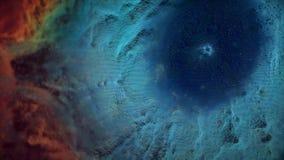 Animation des Raumfluges durch roten und blauen Nebelfleck Fliege durch Weltraumnebelfleck und -sterne stock abbildung