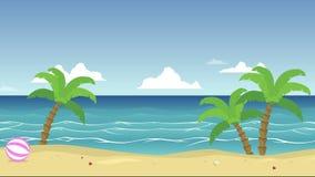 Animation des tropischen Strandes mit Palme vektor abbildung
