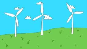 Animation des Zweiges von Karikaturartwindkraftanlagen stock abbildung