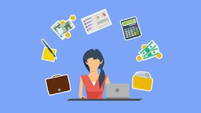 Animation Design of resolution of accounting service. Video animation concept of accounting services. Woman accountant at working place, money, calculator stock footage