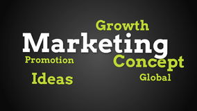 Animation of different marketing words stock video footage