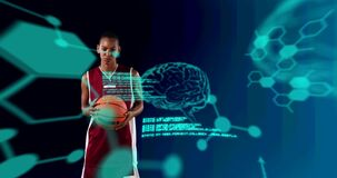 Animation of digital brains and data processing over female basketball player holding ball