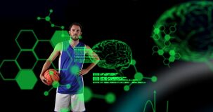 Animation of digital brains and data processing over male basketball player holding ball
