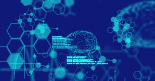 Animation of digital brains medical data processing and information flowing on blue background
