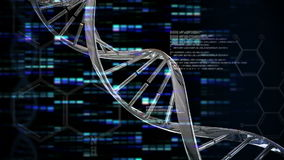 Animation of DNA moving. On a black background