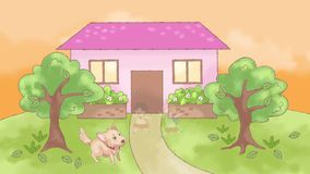 Animation doodle cartoon of a lonely dog pet waiting desperately for the family member for attention and care stock video