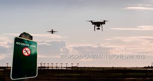 An animation of a drone flying near an airport with a no drone sign and text for new Canadian drone regulations proposed stock illustration
