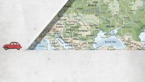 Animation du concept de voyage, voiture sur la carte illustration de vecteur