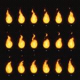 Animation du feu Flamme de flamber, flamme ardente et cadres de flambage animés d'animations de vecteur d'isolement par flammes d illustration de vecteur