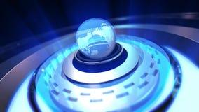 Animation du globe de la terre tournant avec des particules de plexus autour illustration de vecteur