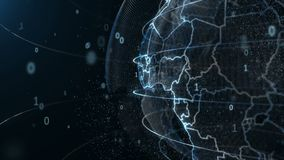 Animation du globe tournant autour des particules et des plexuses numériques illustration de vecteur