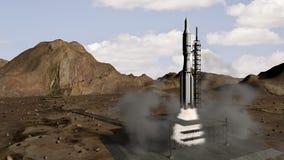 Animation du lancement de fusée illustration de vecteur