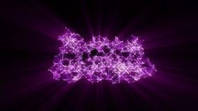 Animation du réseau violet de plexus transformant au texte espagnol au néon - joignez-nous illustration stock