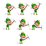 Animation of Dwarf digging. Seven frames, in loop. Vector cartoon isolated character/frames Royalty Free Stock Photo