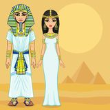 Animation Egyptian family in ancient clothes. Vector illustration: Animation Egyptian family in ancient clothes. Full growth. Background - the desert and Stock Photos