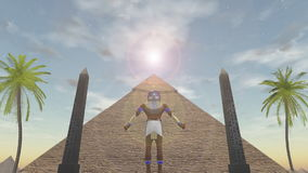 Animation of the egyptian god Horus standing before a pyramid stock video footage