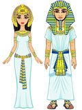 Animation Egyptian imperial family in ancient clothes. Full growth. Royalty Free Stock Photo