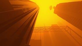 Animation einer Sciencefictionsstadt bedeckt in einer nebeligen Atmosphäre stock abbildung