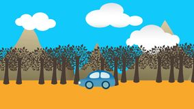 Animation eines Autos auf der Straße mit Bäumen und Bergen stock abbildung