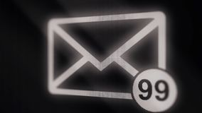 Animation of Email envelope with auto counting number. Message inbox, incoming messages or emails. Email icon with. Incoming email counter stock photos