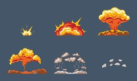 Animation of the explosion effect, broken into separate. Animation for game of the explosion effect, broken into separate frames. The effect of an explosion Stock Images