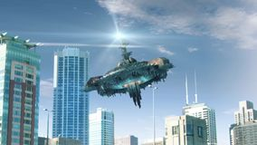Animation with fake UFO flying in Chicago stock video footage