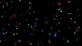 Animation of the falling rotating confetti in shape of heart, star, polygon. stock video footage