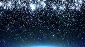 An animation of falling snowflakes on a light blue background.
