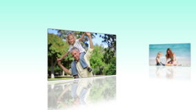 Animation about family in vacations stock footage