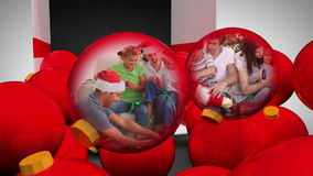 Animation of familys unpacking christmas gifts Royalty Free Stock Photo