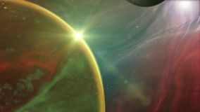 Outer space planet and nebula background. Animation of a fantasy alien planet from outer space, with nebula landscape, stars and light effects royalty free illustration