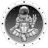 Animation figure of the astronaut sitting in Buddha pose. Meditation in space. Background - the night sky, a circle of stars. Vector illustration isolated Royalty Free Stock Photo
