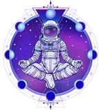 Animation figure of the astronaut sitting in Buddha pose. Meditation in space. Color drawing. Background - the night star sky, phases of the moon, sacred Royalty Free Stock Image
