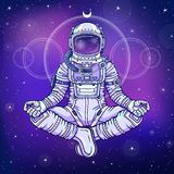 Animation figure of the astronaut sitting in Buddha pose. Meditation in space. Color drawing. Background - the night star sky. Vector illustration. Print Stock Images