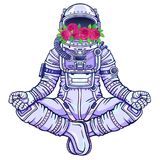 Animation figure of the astronaut sitting in Buddha pose. Meditation in space.  Color drawing. Vector illustration isolated on a white background. Print Royalty Free Stock Images
