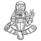 Animation figure of the astronaut skeleton sitting in Buddha pose. Meditation in space. Monochrome drawing. Vector illustration isolated on a white background Royalty Free Stock Image