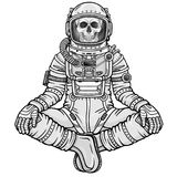 Animation figure of the astronaut skeleton sitting in Buddha pose. Meditation in space. Monochrome drawing. Vector illustration isolated on a white background Royalty Free Stock Photo