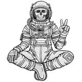 Animation figure of the astronaut skeleton sitting in Buddha pose. Meditation in space. Monochrome drawing. Vector illustration isolated on a white background Stock Photography