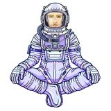 Animation figure of the man astronaut sitting in a Buddha pose. Meditation in space. Color drawing. Vector illustration isolated on a white background. Print Royalty Free Stock Photography