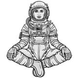 Animation figure of the woman astronaut sitting in a Buddha pose. Meditation in space.  Monochrome drawing. Vector illustration isolated on a white background Stock Photography