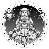Animation figure of the woman astronaut sitting in Buddha pose. Meditation in space. Background - the night sky, symbols of the sun and moon.Vector Stock Images