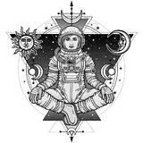 Animation figure of the woman astronaut sitting in Buddha pose. Meditation in space. Background - the night sky, esoteric symbols, sun and moon. Vector Stock Photos