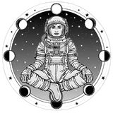 Animation figure of the woman astronaut sitting in Buddha pose. Meditation in space. Background - the night sky, phases of the moon.Vector illustration Stock Photo