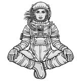 Animation figure of the woman astronaut sitting in a Buddha pose. Meditation in space.  Monochrome drawing. Vector illustration isolated on a white background Royalty Free Stock Photo